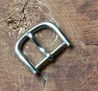 Rounded type vintage nickel steel watch strap buckle 14mm opening NOS 1950s