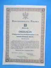 Rzeczpospolita Polska 1924r. Obligacja - 10 Zlotych.