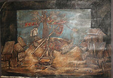 Vintage large pastel painting theatre stage design '' The well''