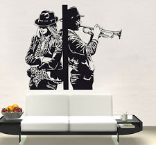 VINILO DECORATIVO PARED SALÓN  HABITACIÓN CASA DECORACION-JAZZ TRUMPET AND WOMAN