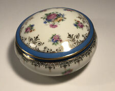 Antique Hand-painted Limoges Lidded Jewelry Box / roses/blue gold finish