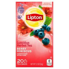 Lipton Berry Hibiscus Herbal Tea Bags 20 Ct. Pack Of 15. Super Fast Shipping