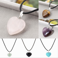 Amethyst,Tigers Eye,Aventurine,Turquoise, Rose Quartz Heart Pendant Black Cord