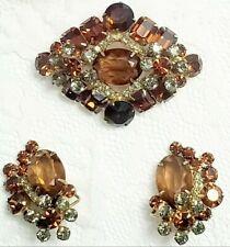Flower Crystal Brooch Earring Set Vtg D&E Juliana Topaz Smokey Gray