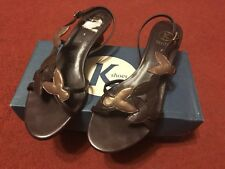 K Shoes TRINNY Bronze/bronze Sling back Sandals Size 4 Wide Fitting New (other)