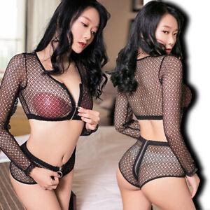 Sexy Women See Through Mesh Underwear Shiny Playsuit  Zipper Nightsuit Clubwear
