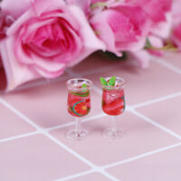 2Pc 1:12 Dollhouse miniature resin cocktail cup simulation wine glass model t bq