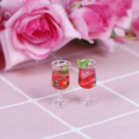 2pcs 1:12 Dollhouse miniature en résine cocktail tasse simulation verre à vinLTA