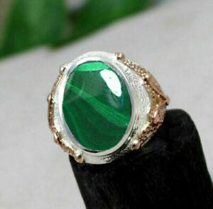 Fine Malachite Gemstone Solid 925 Sterling Silver Birthstone Mens Ring Jewelry