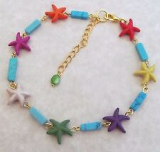 Starfish Anklet, Colorful Turquoise Anklet, Sea Shell Anklet, Beach Anklet