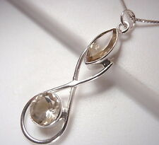 Two-Tone Faceted Citrine Necklace Marquise Round 925 Sterling Silver New a15-8