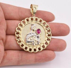 "2 1/2"" Saint Barbara Medallion Miami Cuban Pendant Ruby Real 10K Yellow Gold"