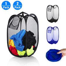 Large Foldable Portable Laundry Basket Mesh Hamper Washing Clothes Storage Bin