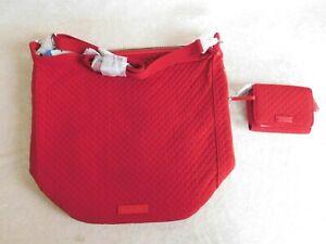 VERA BRADLEY CARSON HOBO BAG & RFID CARD CASE SET CARDINAL RED CROSSBODY NWT