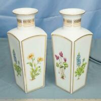 Vtg Lot of 2 Large Vases Georges Briard Porcelain China Floral Potpourri dq