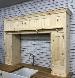 Pine Traditional Style Over Mantle Kitchen Unit