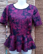 PRIMARK ATMOSPHERE Ladies Pink  Black Lace Print Short Sleeve Peplum Top Size 10