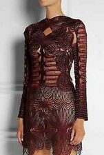 Runway Luxury dress women lace embroidery long sleeve Cocktail Burgundy size XL