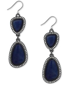 $39 Lucky Brand hematite tone pave & blue stone double drop earrings 0119