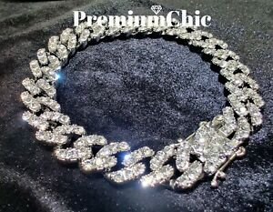 Mens Miami Cuban Link Bracelet Diamond (Simulated) FULLY ICED Silver/Gold Plated