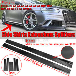 2.2m Splitter Side Skirt Carbon Look For AUDI A3 A4 A5 A6 A7 Q3 Q5 8P RS5 S3 S4