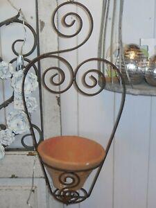 Pflanztopf hängend Metall Terracotta Garten Blumenampel Korb Vintage und Shabby