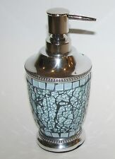NEW-TEAL BLUE CHROME SILVER METAL KITCHEN,BATHROOM SOAP,LOTION INDIAN DISPENSER