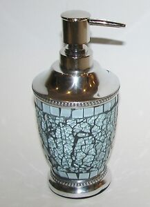 NEW-TEAL BLUE CHROME SILVER METAL KITCHEN,BATHROOM SOAP,LOTION INDIAN DISPENSER