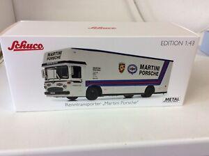 Porsche Mercedes-Benz Martini Race Car Transporter Truck O317 White 1:43 Schuco
