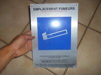 Plaque Aluminium Emplacement fumeur déco loft industrielle usine cigarette