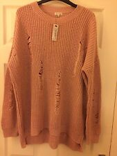 BNWT River Island Light pink ribbed knit jumper Size M ie 12 or 14