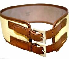 Dolce & Gabbana Wicker Straw embellished Camel color Leather Corset Belt