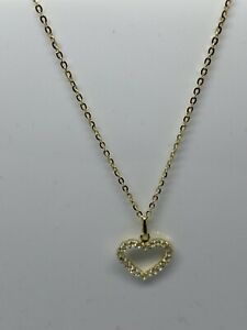 """9ct, 375 Real Gold CZ Heart Necklace With 18"""" Chain Brand New"""