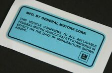 70-76 GM Door Jamb Blue ID Number Decal Sticker & Clear Cover W30 Judge TA NOS