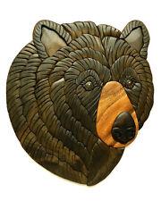 Black Bear Head II Intarsia Wood Wall Art Home Decor Plaque Western Lodge