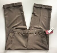 NWT Women's Kim Rogers Brown Fit Solutions Cropped Cuffed Capri Pants-Size 12