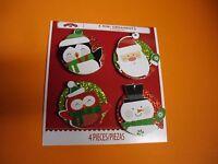4PK Holiday Christmas Mini Tree Ornaments Sparkly Penguin Santa Clause Snowman