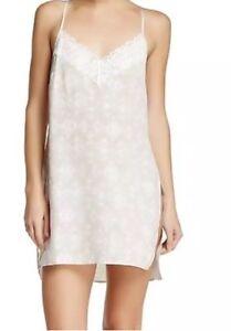 Valette Women's Light Gray Lunar Geo Cube Print Lace Trim Slip Sz Med Nightgown