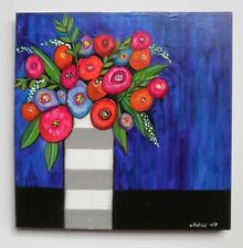 Vibrant Flowers striped Vase of Flowers Floral-Original Painting by Astrid