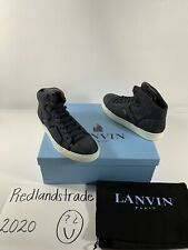 Lanvin Mens Medium High Top Trainer Shoes Blue Black Jean Sz US 9 UK 8 NIB