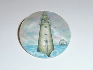 """White Brick Lighthouse w/ Sailboats on MOP - Mother Pearl Shank Button 1-3/8"""""""