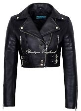 Missy Ladies Short Fitted Black CROPPED Biker Real Lamb Skin Leather Jacket