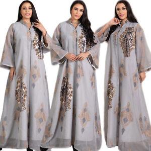 Sequins Abaya Muslim Women Long Maxi Dress Kaftan Jilbab Caftan Dubai Islamic
