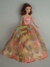 Pink and Floral Print Sleeveless Ball Gown Made to Fit Barbie Doll