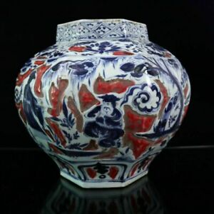 """13.6"""" Chinese Porcelain Blue-and-white Red Under Glaze Personage Octahedral Jar"""
