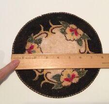Victorian Hooked Rug Carpet Yellow Flowers Black & Cream VTG Dollhouse Miniature