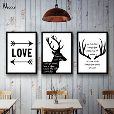 Deer Motivational Abstract Canvas Poster Black White Minimalism Art Painting 007