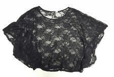 H&M Divided Womens size 2 Black Floral Lace Flutter Sleeve Top, EUC