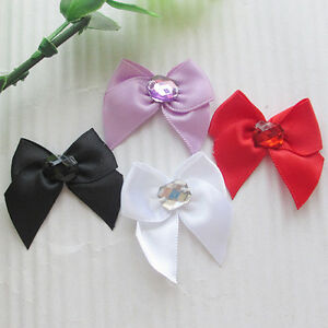 40pcs Satin Ribbon Bows W/rhinestone Appliques Craft Wedding A676M U pick