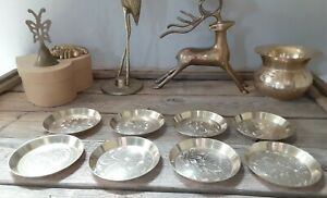 Vintage set of 8 botanic motif nesting Brass Coasters old gold bar holiday decor
